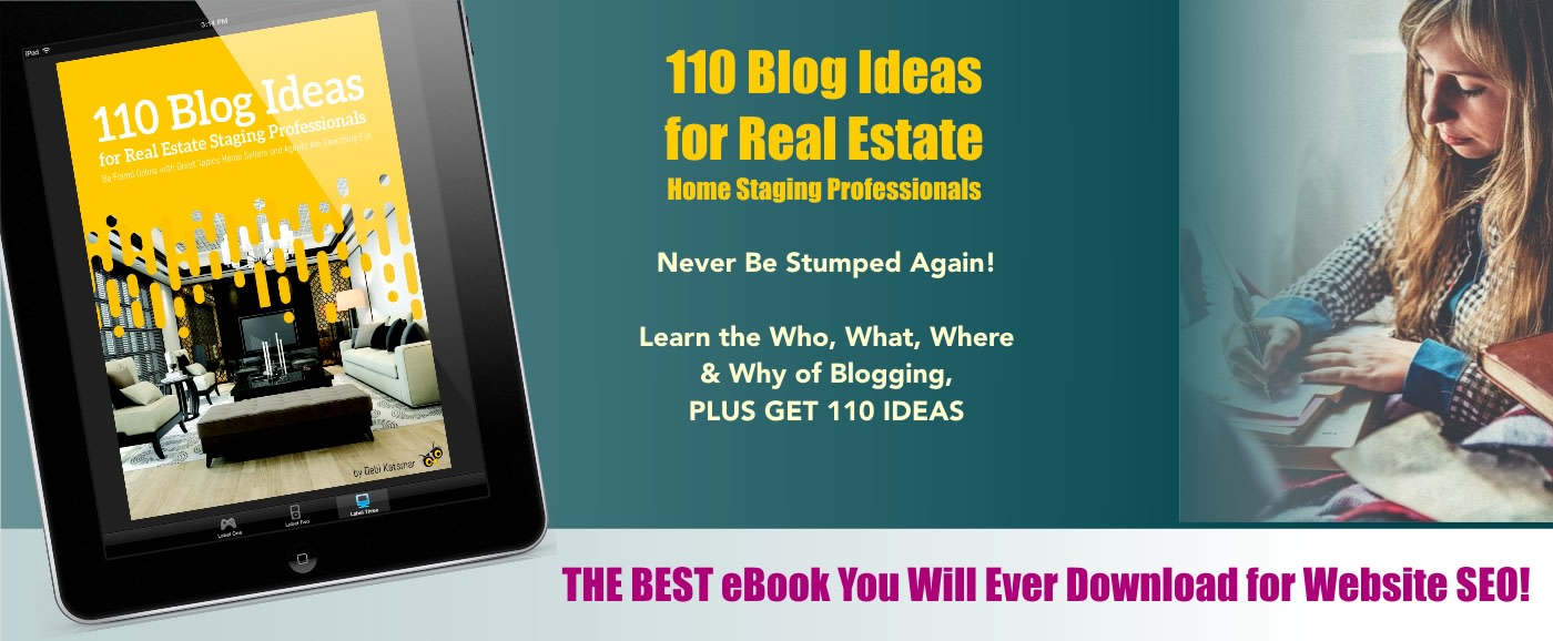 cover of ebook with home stager writing