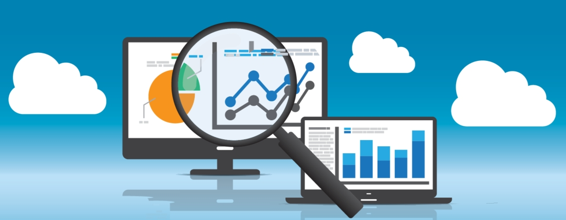 magnifying glass on a computer screen graphic with analytics