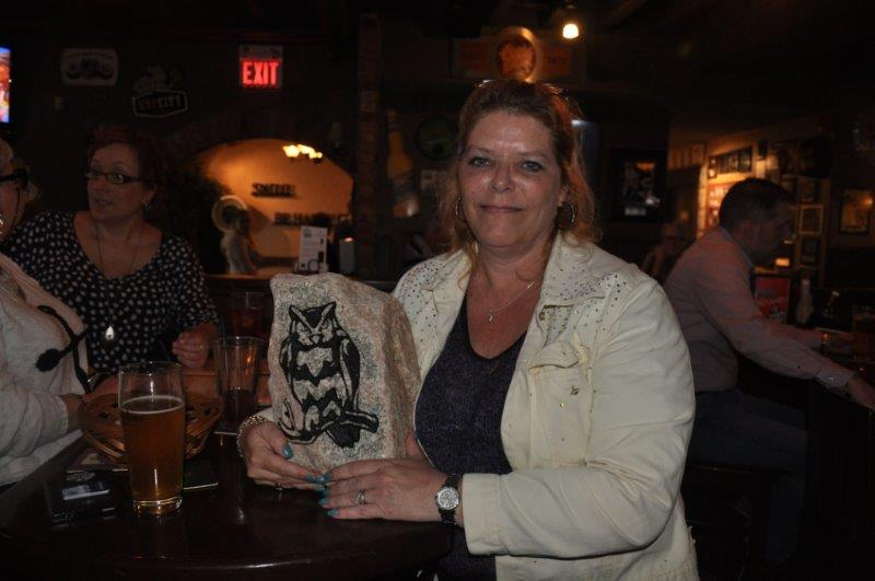 debi katsmar with owl presented by Denise Guerette