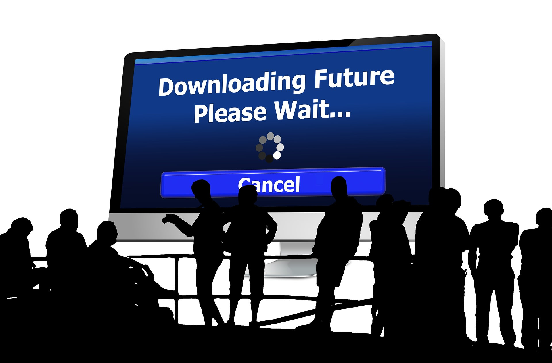 downloading future graphic with business people