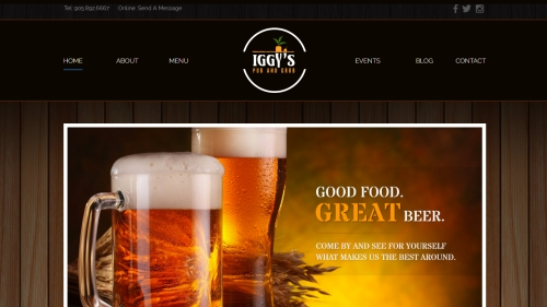Iggy's pub and grub website image