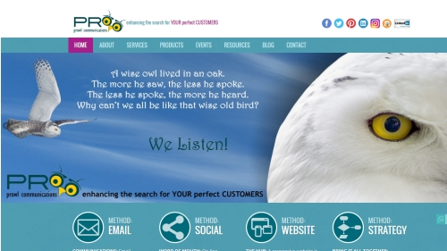 PRowl Communications website image
