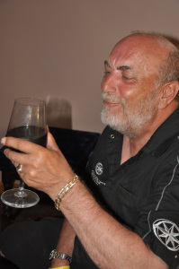 Bill McGee sampling 24 year old wine